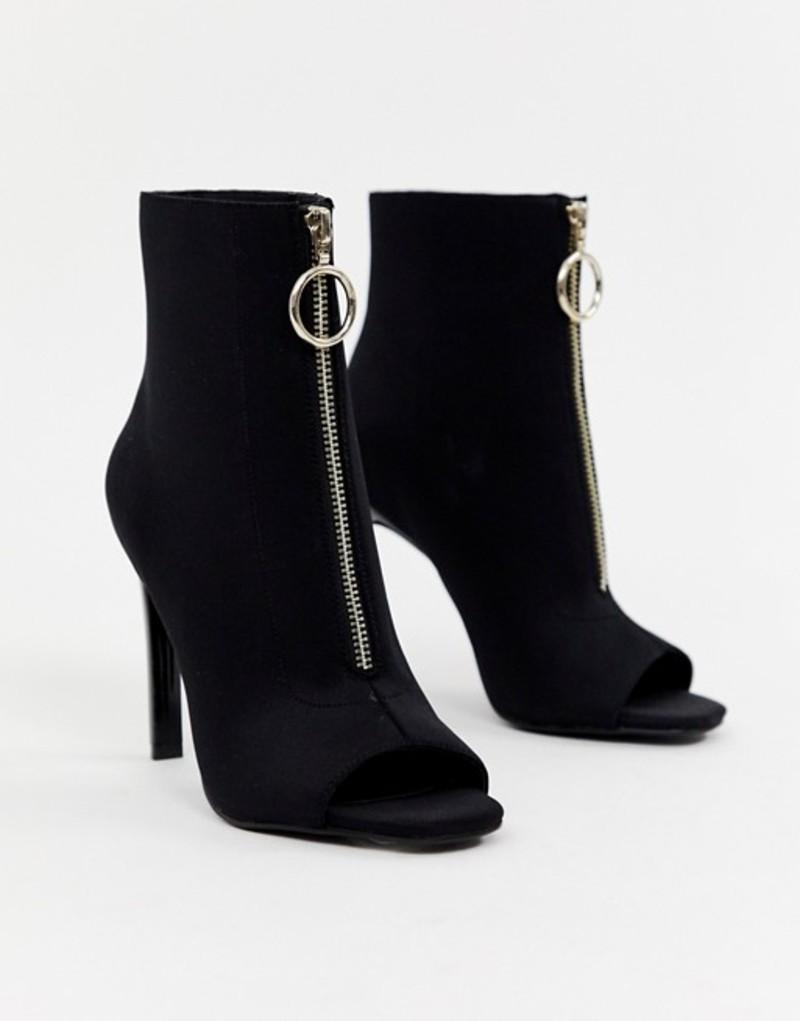 エイソス レディース ヒール シューズ ASOS DESIGN Evelyn peep toe sock boots Black