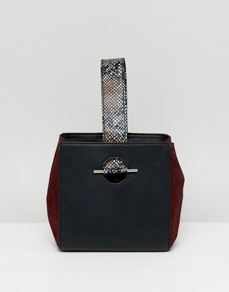 エイソス レディース クラッチバッグ バッグ ASOS DESIGN leather mix boxy grab clutch bag with snake detail Multi