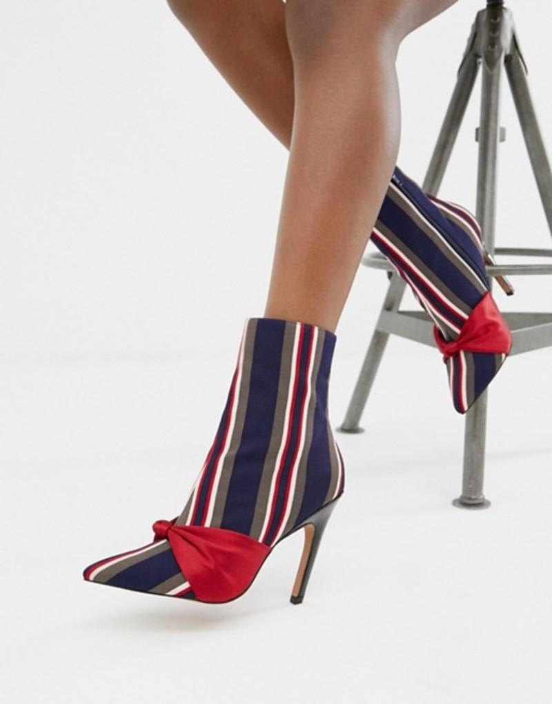 エイソス レディース ヒール シューズ ASOS DESIGN Evy stripe bow boots Stripe