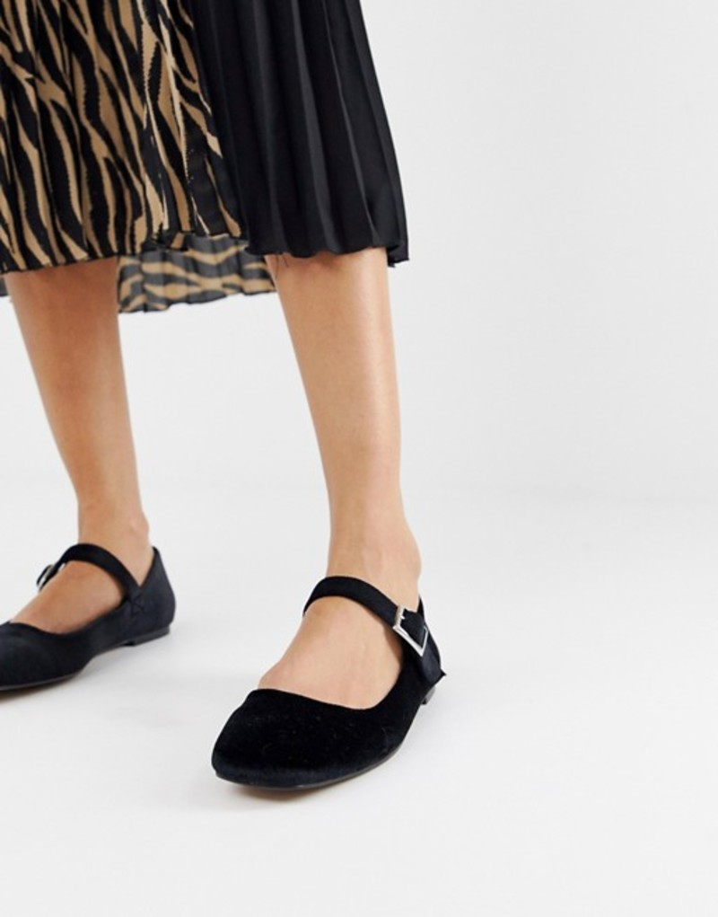 エイソス レディース パンプス シューズ ASOS DESIGN Links mary jane ballet flats Black velvet