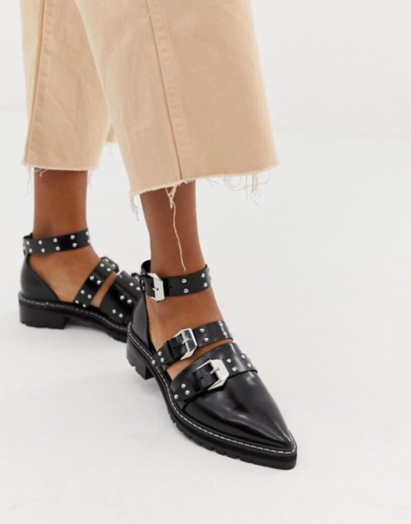 エイソス レディース パンプス シューズ ASOS DESIGN Mile End premium studded pointed leather flat shoes Black box
