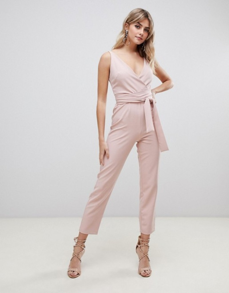 エイソス レディース ワンピース トップス ASOS DESIGN wrap front jumpsuit with peg leg and self belt Nude