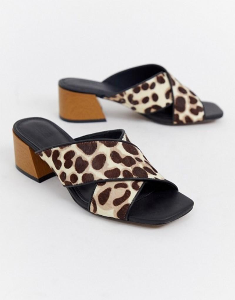 エイソス レディース サンダル シューズ ASOS DESIGN Tiana leather premium mule sandals Leopard