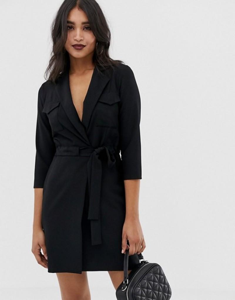 エイソス レディース ワンピース トップス ASOS DESIGN utility mini tux dress Black