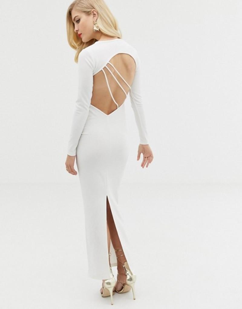 エイソス レディース ワンピース トップス ASOS DESIGN long sleeve strappy back maxi dress White