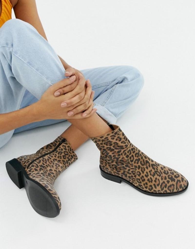 エイソス レディース ブーツ・レインブーツ シューズ ASOS DESIGN Albany suede sock boots in leopard Leopard suede