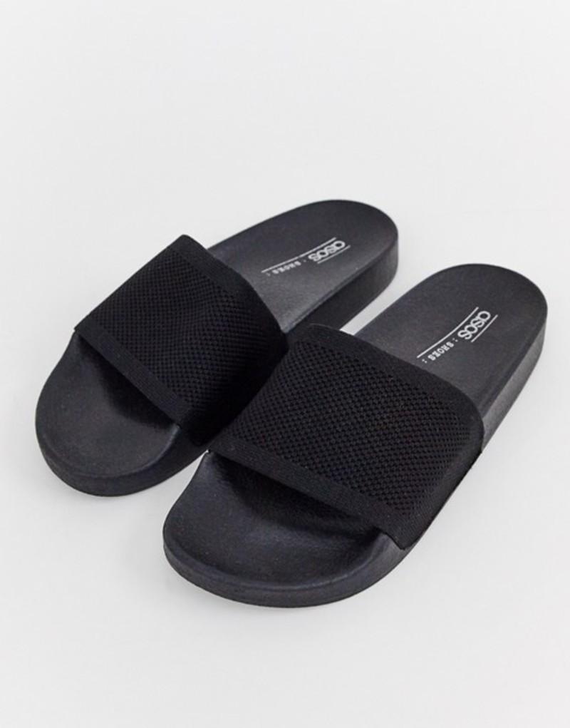 エイソス レディース サンダル シューズ ASOS DESIGN Flipside knitted pool slider Black