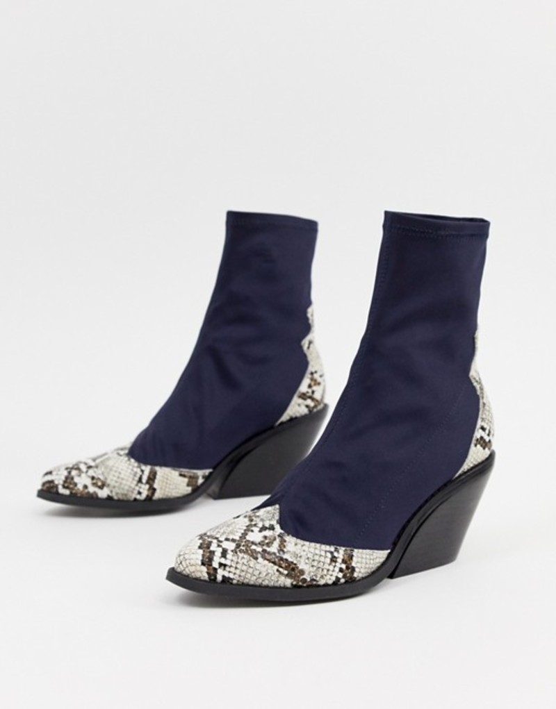 エイソス レディース ブーツ・レインブーツ シューズ ASOS DESIGN Raglan western sock boots Snake