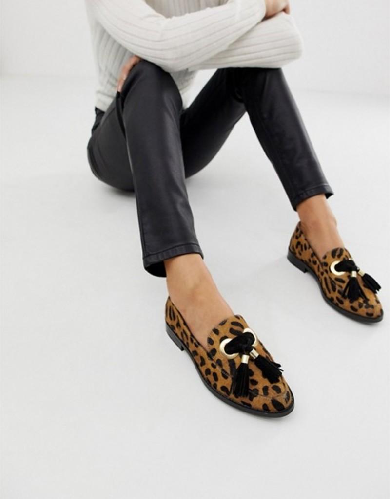 エイソス レディース パンプス シューズ ASOS DESIGN Mimic leather loafer flat shoes Leopard