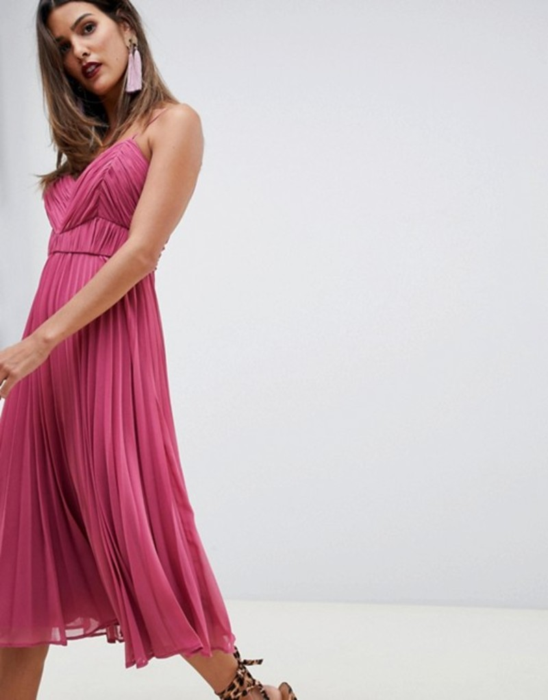 エイソス レディース ワンピース トップス ASOS DESIGN cami midi dress with ruched bodice Raspberry