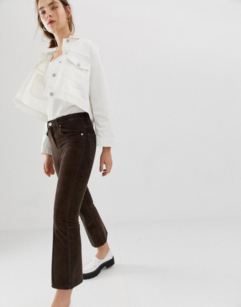 エイソス レディース デニムパンツ ボトムス ASOS DESIGN Egerton crop kick flare jeans in vintage brown cord Chocolate brown