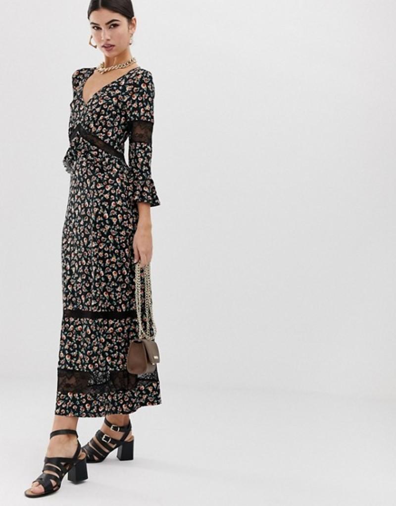 エイソス レディース ワンピース トップス ASOS DESIGN city maxi tea dress with lace inserts in ditsy print Ditsy print