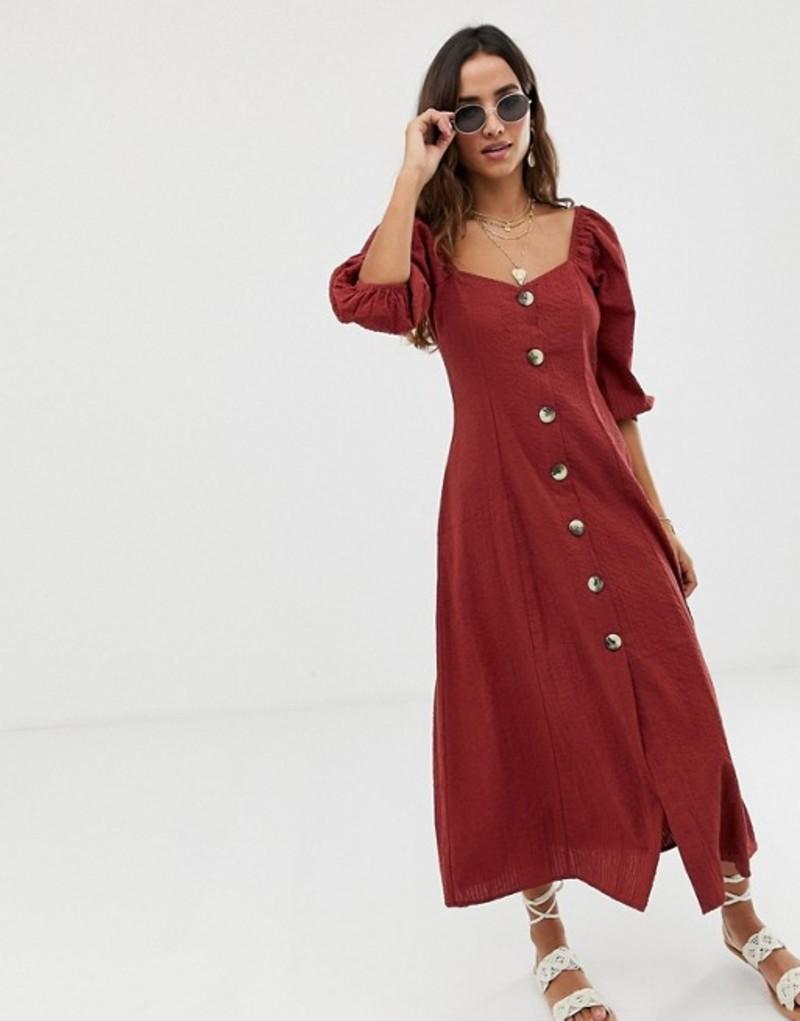 エイソス レディース ワンピース トップス ASOS DESIGN puff sleeve button through maxi dress in seersucker Rust