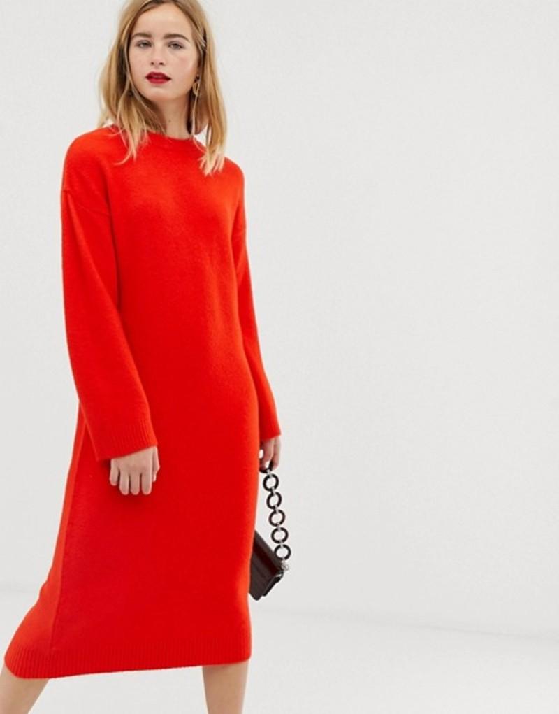 エイソス レディース ワンピース トップス ASOS DESIGN knitted midi dress in fluffy yarn Tomato