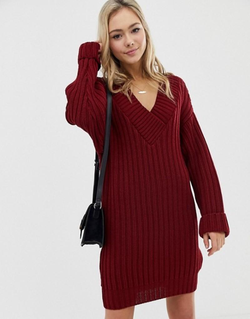 エイソス レディース ワンピース トップス ASOS DESIGN v neck knitted mini dress in chunky rib Dark red