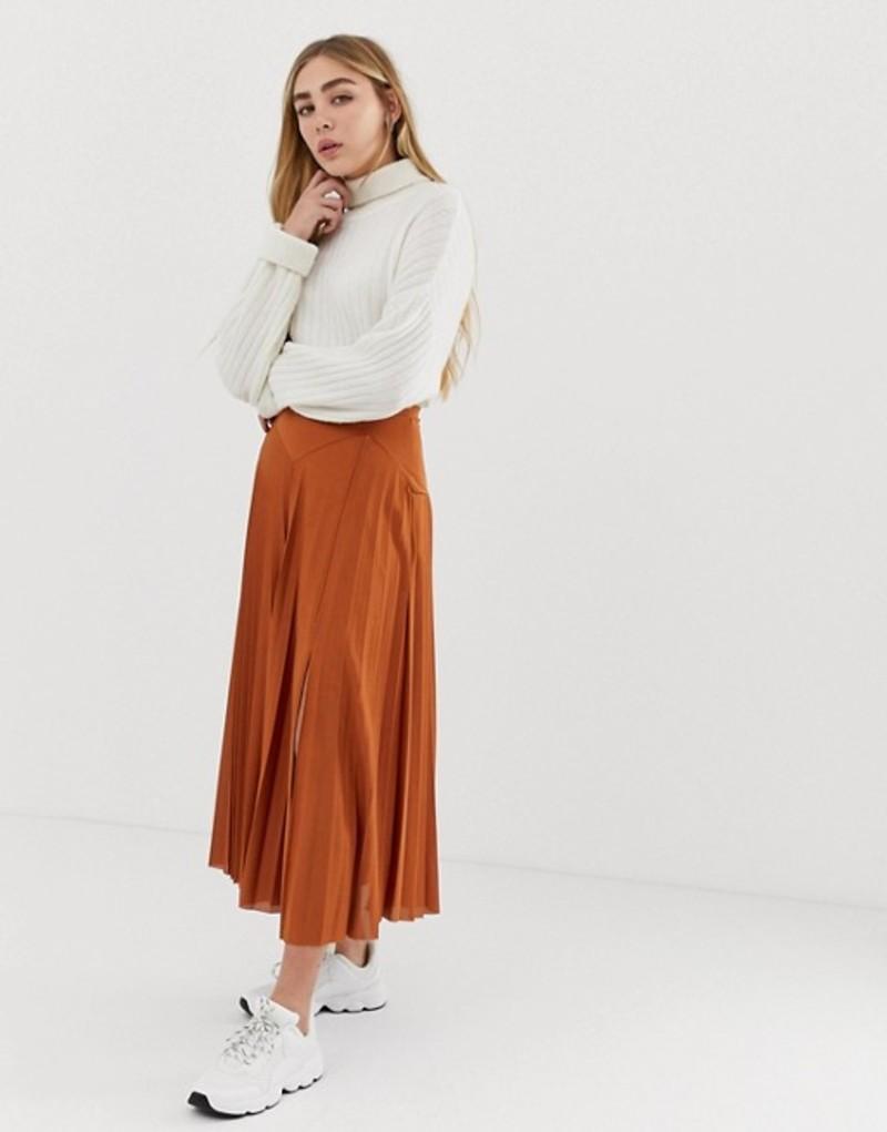 エイソス レディース スカート ボトムス ASOS DESIGN pleated midi skirt with deep bask and split Terracotta
