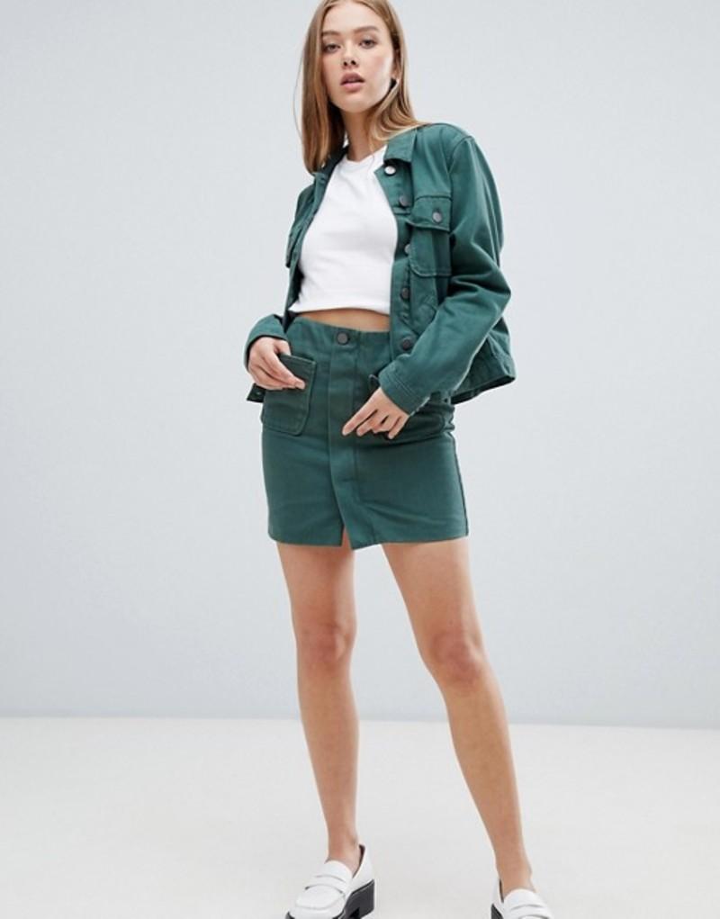 エイソス レディース スカート ボトムス ASOS DESIGN denim minimal skirt in washed green Green