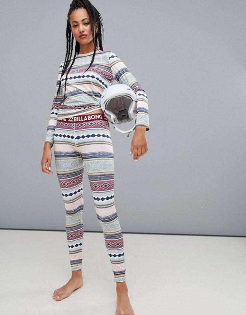 ビラボン レディース レギンス ボトムス Billabong Warm Up base layer tech leggings in multi Multi