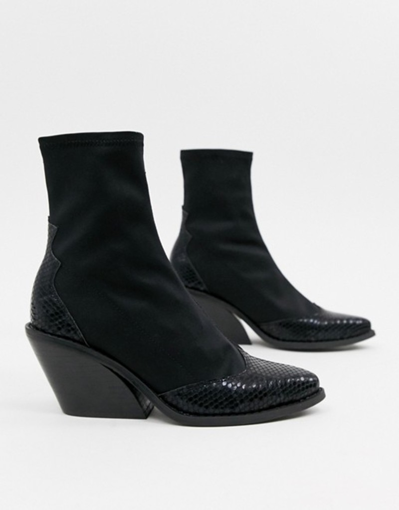 エイソス レディース ブーツ・レインブーツ シューズ ASOS DESIGN Raglan western sock boots Black