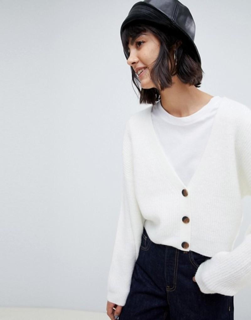 エイソス レディース カーディガン アウター ASOS DESIGN cardigan in fluffy yarn with buttons Cream