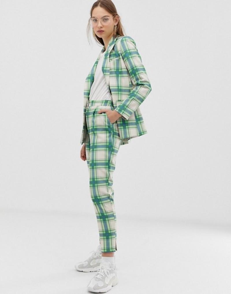 エイソス レディース カジュアルパンツ ボトムス ASOS DESIGN slim suit pants in printed check Check