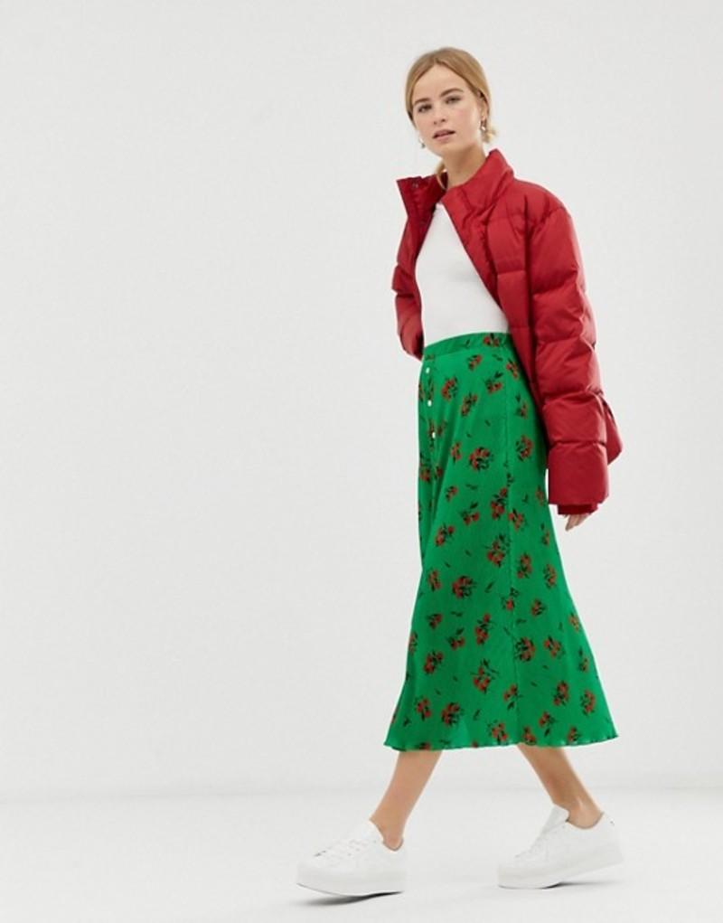 エイソス レディース スカート ボトムス ASOS DESIGN floral plisse pleated midi skirt with poppers Green floral