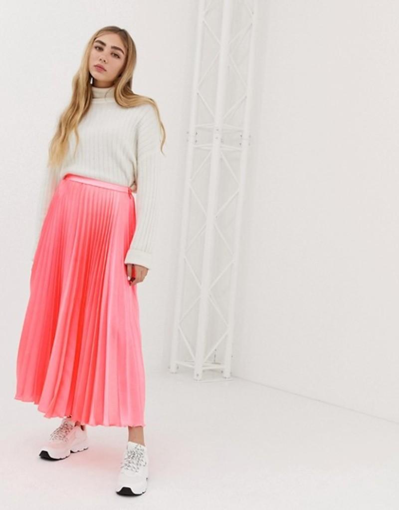 エイソス レディース スカート ボトムス ASOS DESIGN pleated midi skirt in neon satin Neon pink