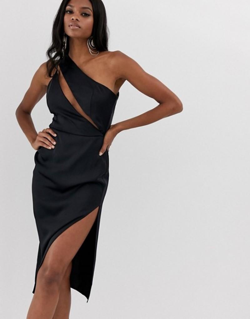 エイソス レディース ワンピース トップス ASOS DESIGN midi dress in satin with spliced bodice Black