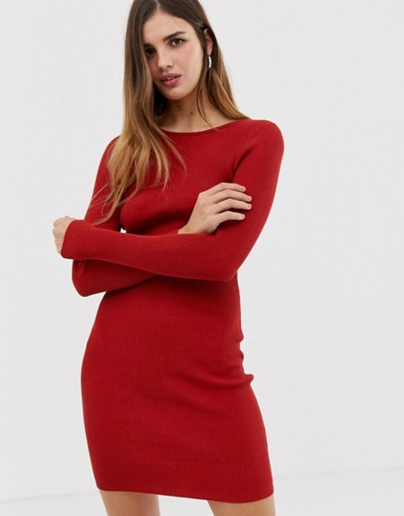 アーバンブリス レディース ワンピース トップス Urban Bliss Ribbed Knit Mini Dress Rust
