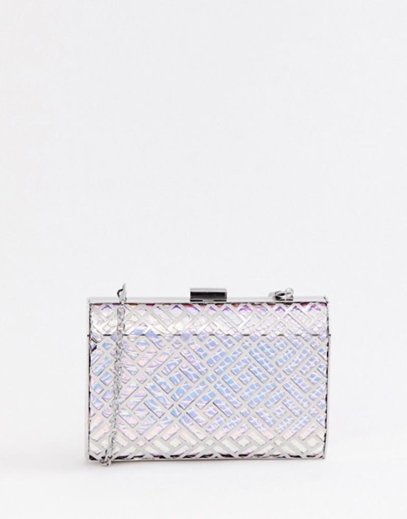トゥルーデカデンス レディース クラッチバッグ バッグ True Decadence iridescent geometric box clutch bag Silver