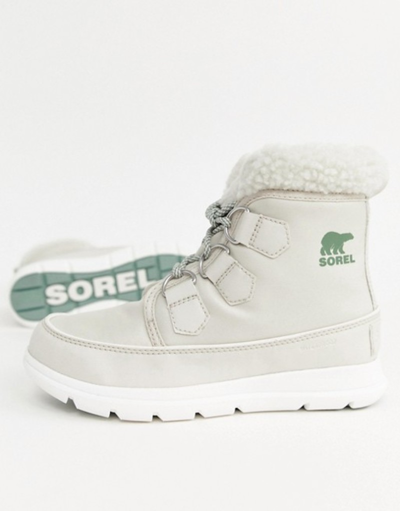 ソレル レディース ブーツ・レインブーツ シューズ Sorel Explorer Carnival Waterproof Nylon Boots With Microfleece Lining Fawn on sea