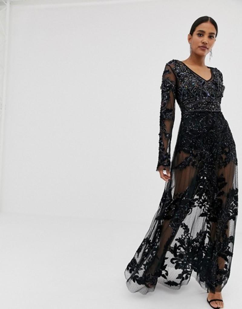 エースターイズボーン レディース ワンピース トップス A Star is Born allover embellished maxi dress in black Black