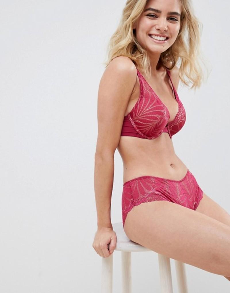 ワンダーブラ レディース ブラジャー アンダーウェア Wonderbra Refined Glamour lace padded triangle bra in cherry Cherry red