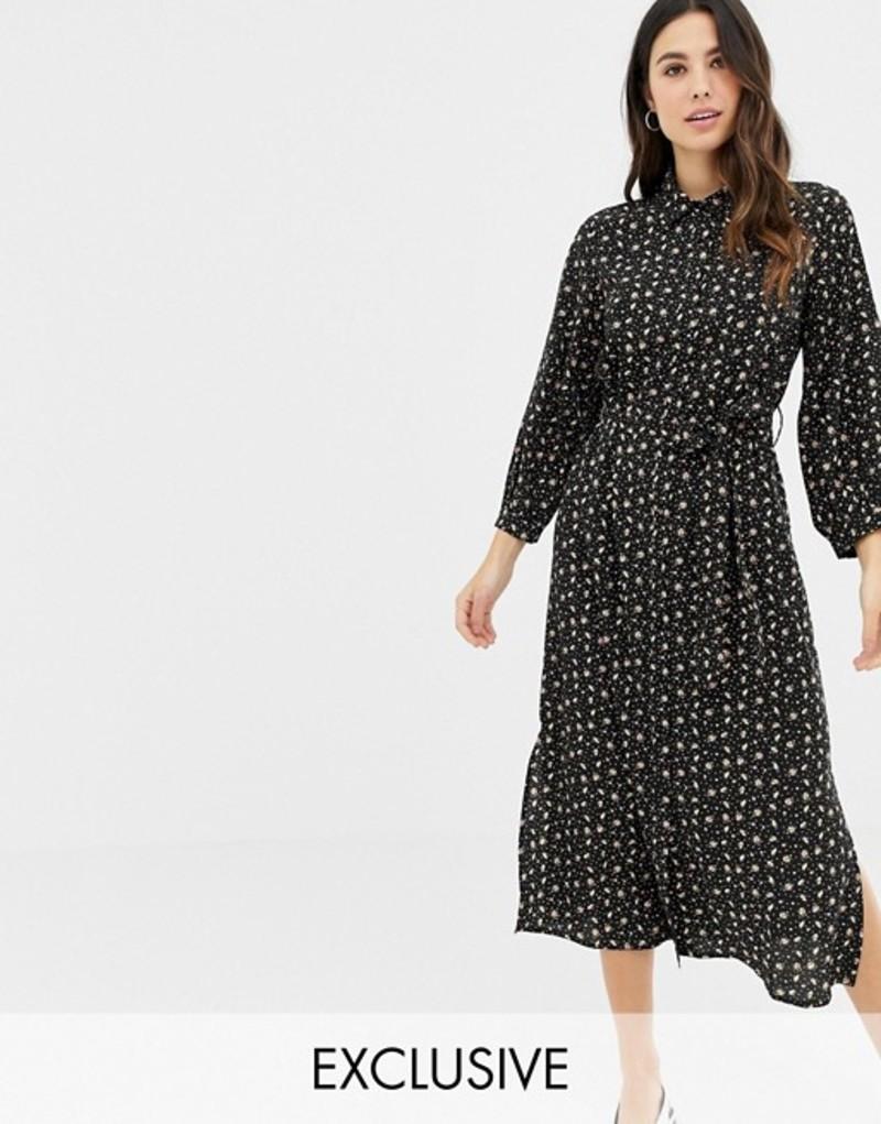 ファッションモンキー レディース ワンピース トップス Fashion Union midi shirt dress in floral heart print Black floral
