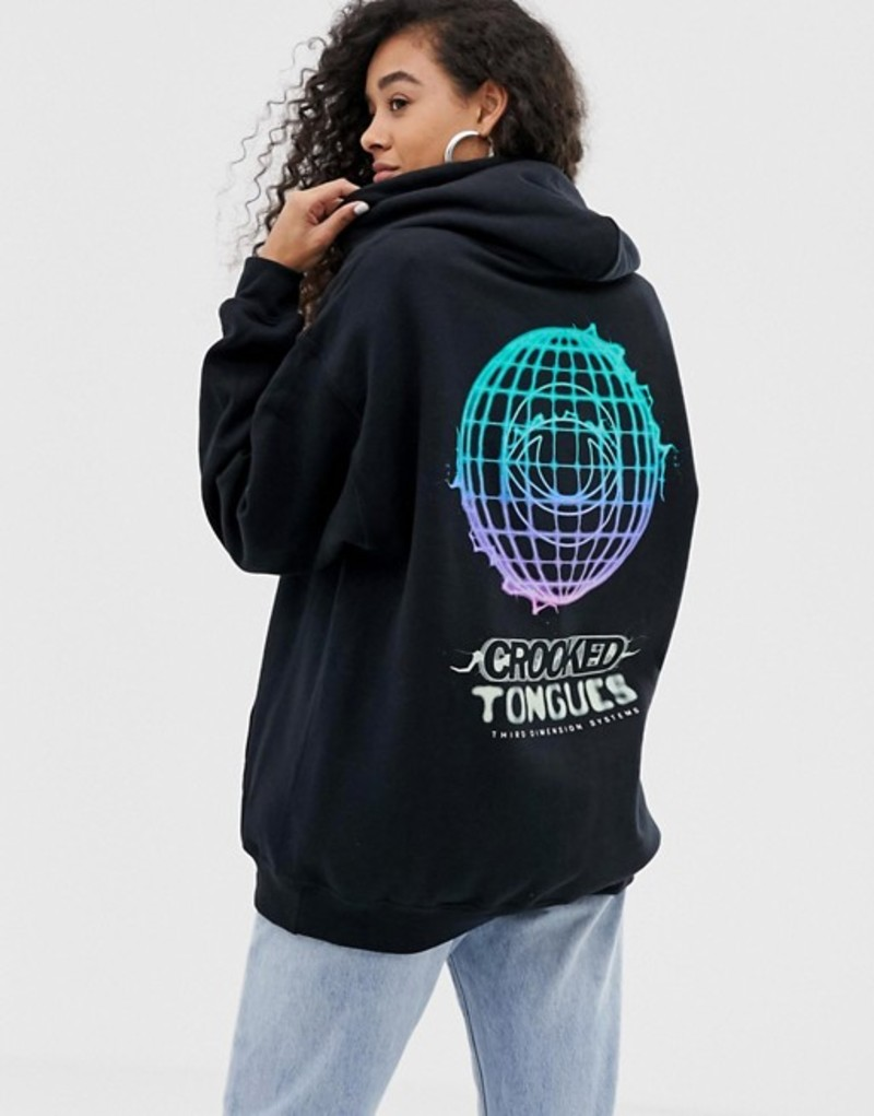 クルックドタン レディース パーカー・スウェット アウター Crooked Tongues oversized hoodie in black with glow in dark print Black