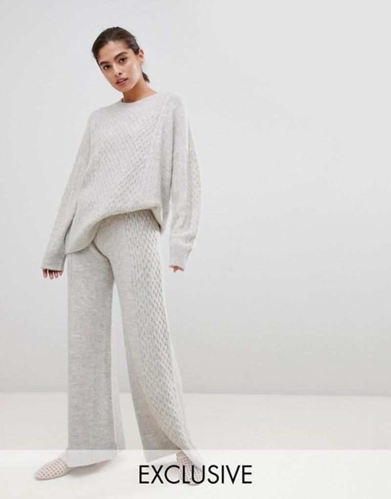 ミチャラウンジ レディース カジュアルパンツ ボトムス Micha Lounge Luxe pants in cable knit two-piece Grey