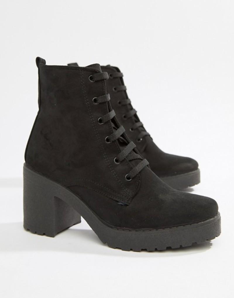 ミスセルフフリッジ レディース ブーツ・レインブーツ シューズ Miss Selfridge chunky sole heeled ankle boot Black