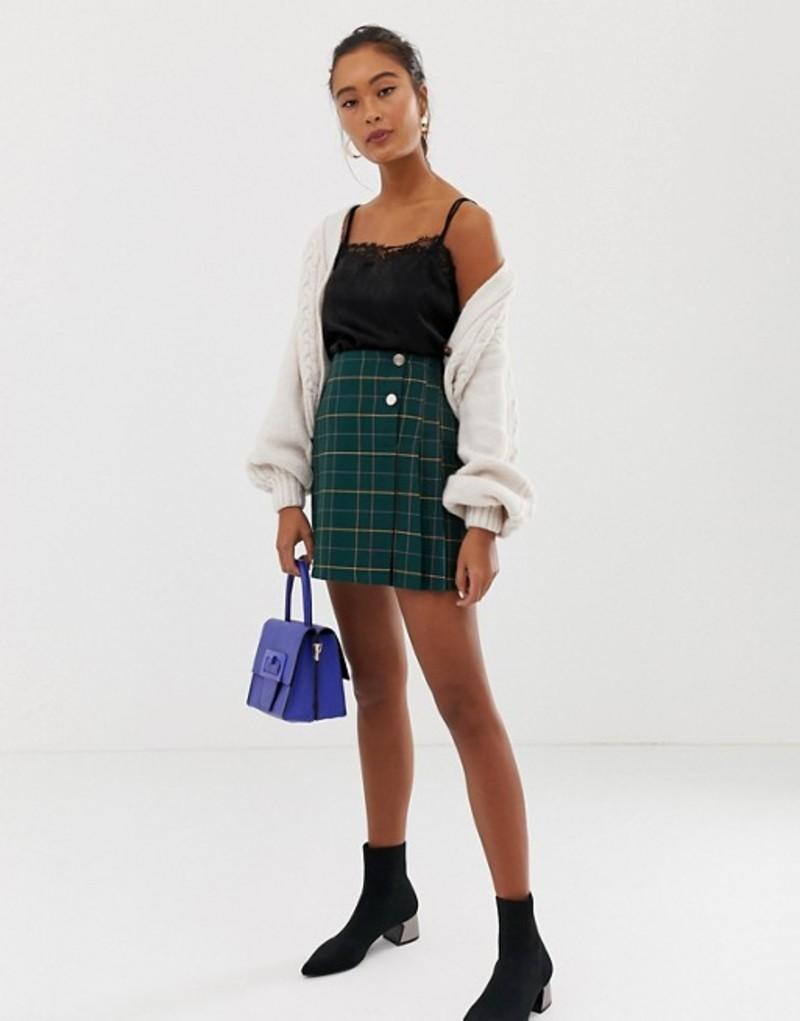 ミスセルフフリッジ レディース スカート ボトムス Miss Selfridge a-line mini skirt in green check Green