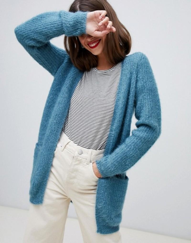 ヴェロモーダ レディース カーディガン アウター Vero Moda fluffy cardigan in blue Smoke blue
