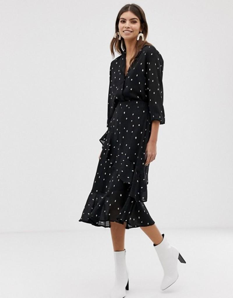 ワイエーエス レディース スカート ボトムス Y.A.S spot printed skirt with frill detail Black