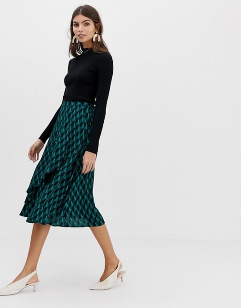 ワイエーエス レディース スカート ボトムス Y.A.S geo printed midi skirt Green