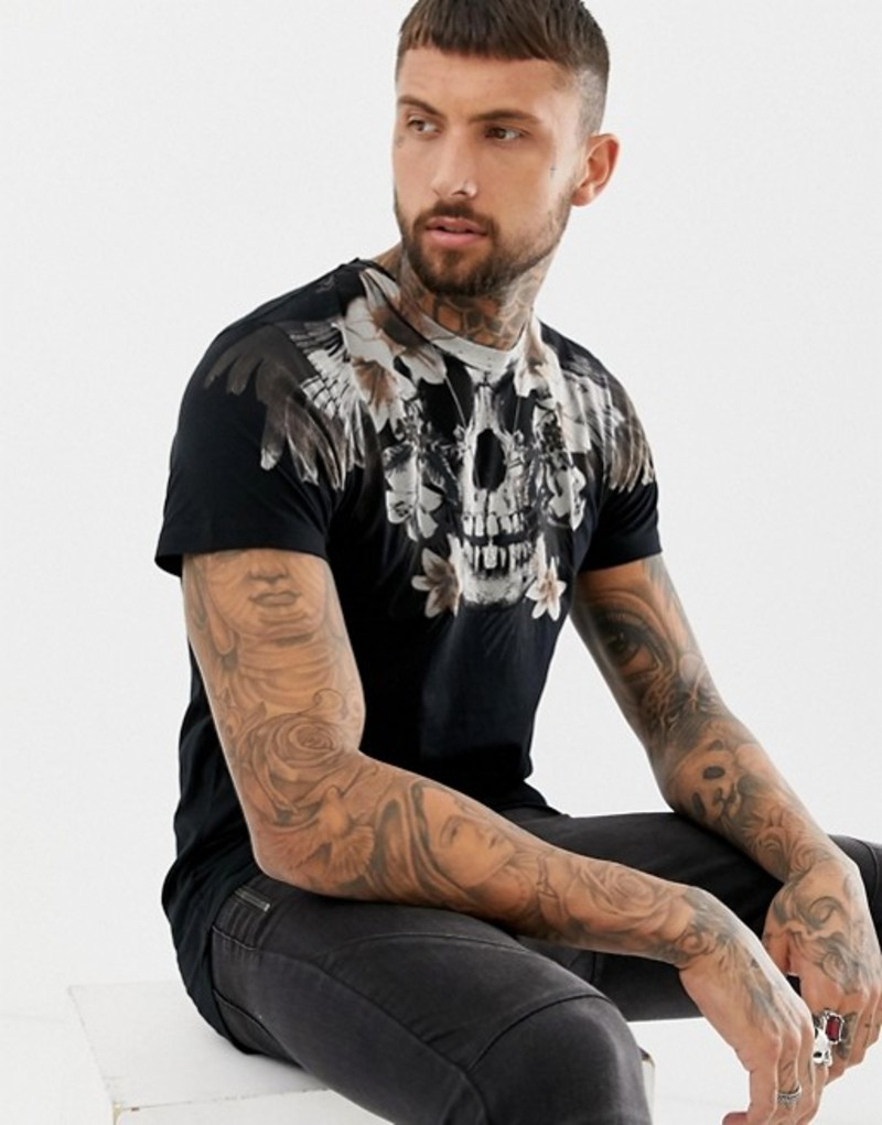 レリジョン メンズ Tシャツ トップス Religion muscle fit t-shirt with skull floral print in black Black
