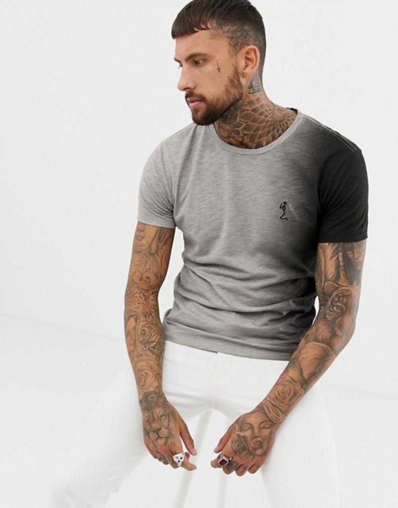レリジョン メンズ Tシャツ トップス Religion muscle fit t-shirt in monochrome fade Grey black