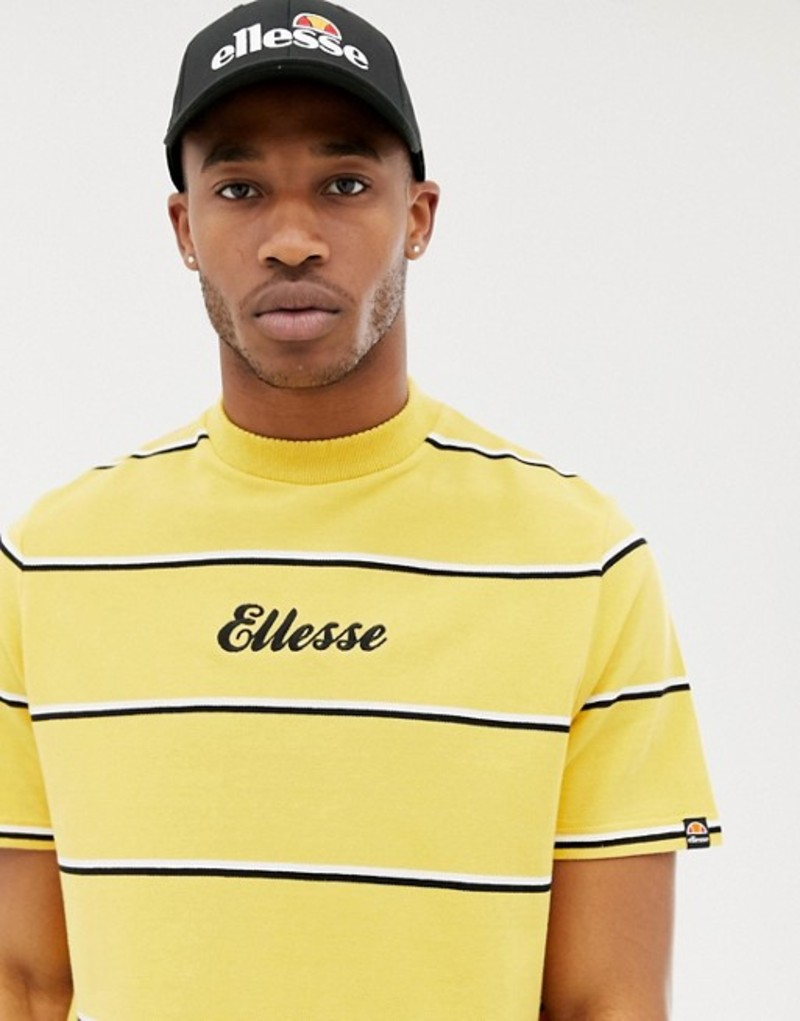 エレッセ メンズ Tシャツ トップス ellesse Conte striped t-shirt in relaxed fit with logo in yellow Yellow