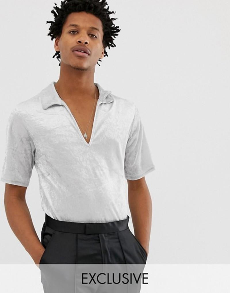 リクレイム ヴィンテージ メンズ Tシャツ トップス Reclaimed Vintage Inspired short sleeve velvet overhead shirt Silver