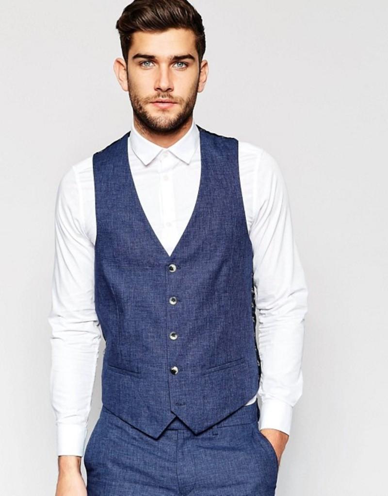 リバーアイランド メンズ タンクトップ トップス River Island Slim Fit Linen Suit Vest In Blue Blue