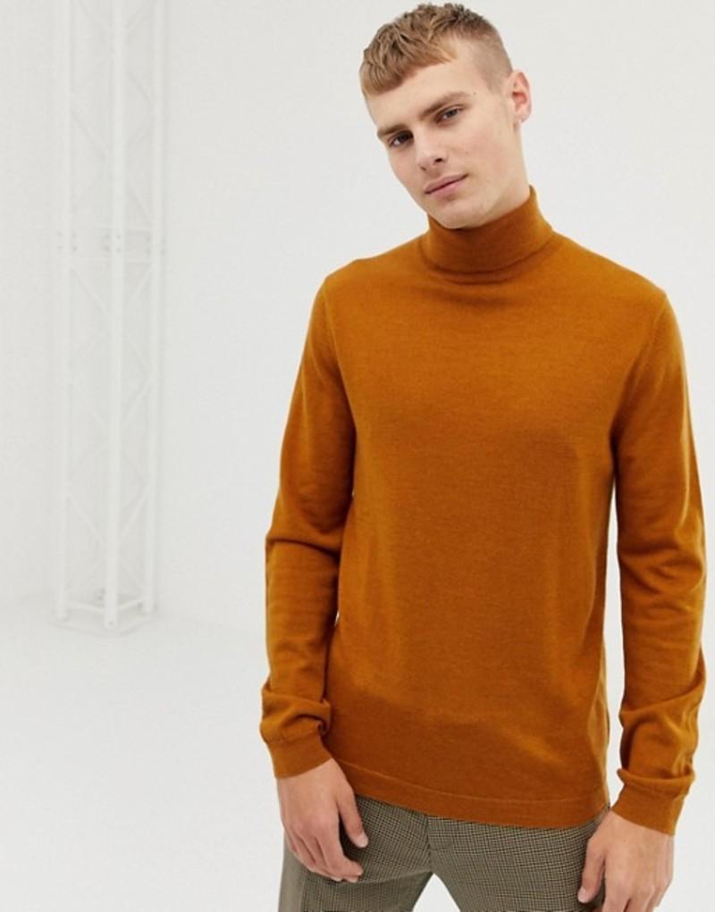 エイソス メンズ ニット・セーター アウター ASOS DESIGN merino wool roll neck sweater in mustard Mustard
