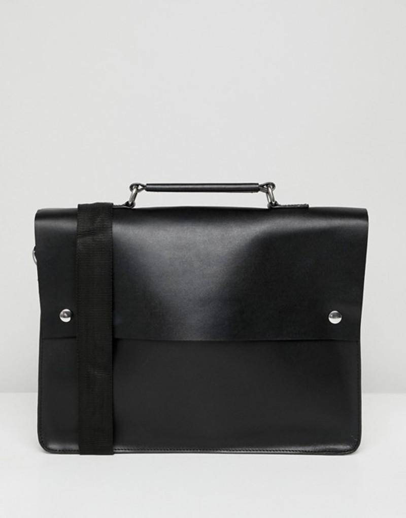 エイソス メンズ バックパック・リュックサック バッグ ASOS DESIGN leather satchel in black with double poppers and internal laptop pouch Black