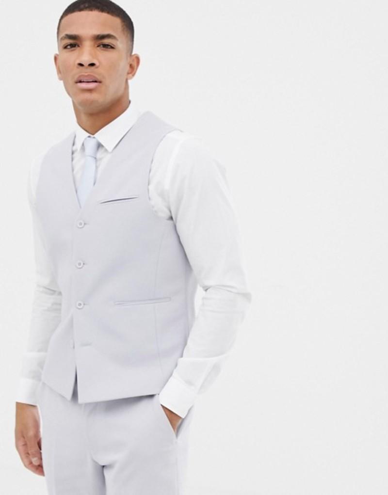 エイソス メンズ タンクトップ トップス ASOS DESIGN wedding skinny suit vest in ice gray Ice grey