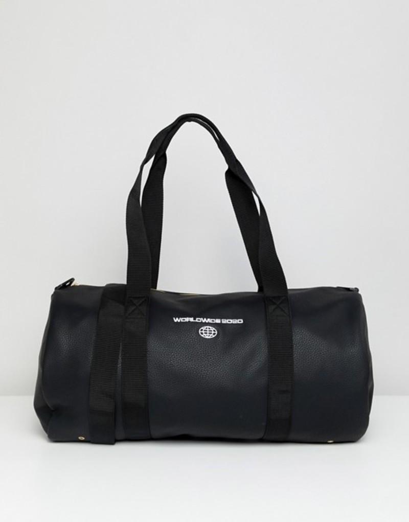 エイソス メンズ ボストンバッグ バッグ ASOS DESIGN faux leather barrel bag in black with worldwide embroidery Black